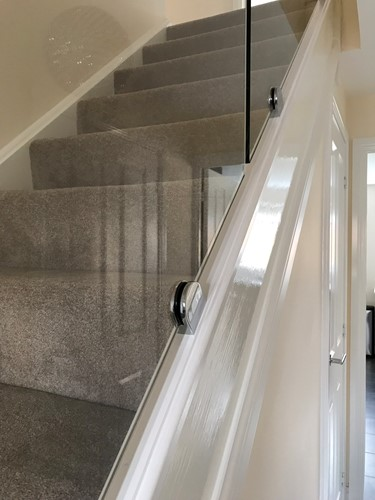 Glass stair panel